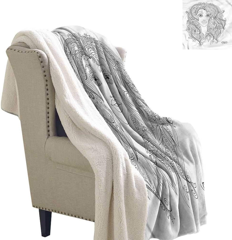 Beihai1Sun Zodiac Virgo Berber Fleece Blanket Young Floral Girl 60x32 Inch