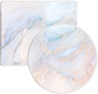 Umikk Mouse Pad, Small Cute Mouse Pad with Marble Design, 2 Pack Non-Slip Mousepad with Stitched Edge for Work Gaming Dail...