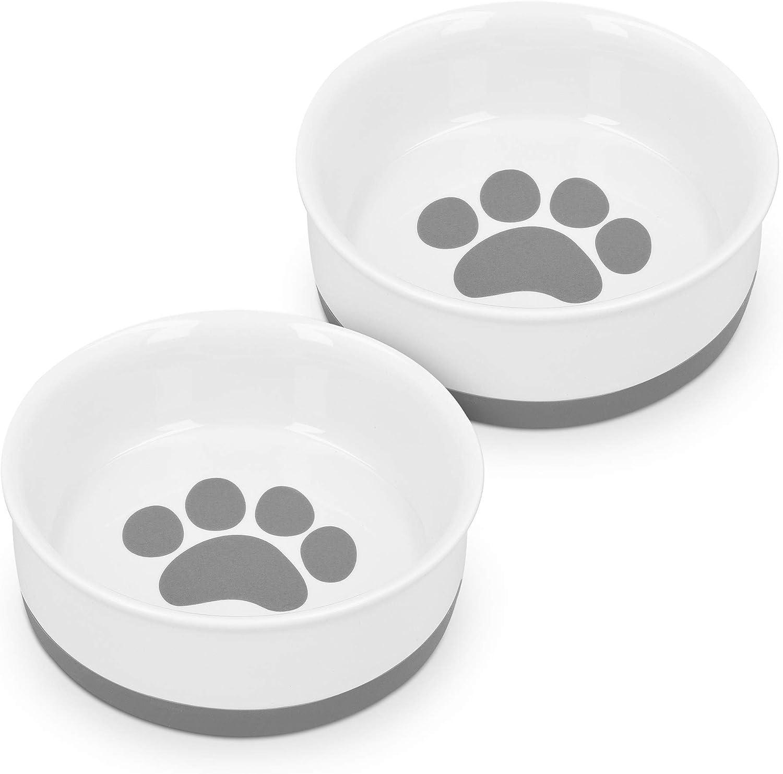 Navaris Comedero y Bebedero para Mascotas - 2X tazón Antideslizante de Porcelana para Agua Comida para Perros Gatos Conejos - Apto para lavavajillas