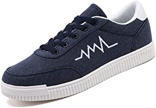 XUJW-Shoes, Canvas Shoes for Men Cozy Breathable Fashion Casual Flat Skate Sneakers Outdoor Walking Running Shopping Lace Up Anti-Slip Round Toe Durable (Color : Blue, Size : 7 UK)