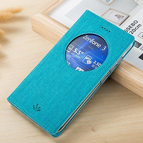 Cover ZenFone 3 ZE552KL, Yoodi Slim Cover Portafoglio Copertura per ASUS ZenFone 3 ZE552KL Antiurto Custodia Protettiva in Pelle PU Flip Case con View Window (Blu)