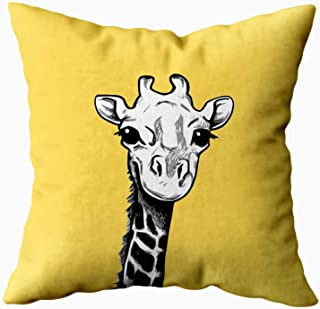 Capsceoll giraffe giraffe sketch pillow grey and yellow Decorative Throw Pillow Case 16X16Inch,Home Decoration Pillowcase Zippered Pillow Covers Cushion Cover with Words for Book Lover Worm Sofa Couch