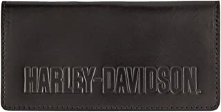 Harley-Davidson Men's Embossed Classic Checkbook Leather Wallet HDMWA11258-BLK