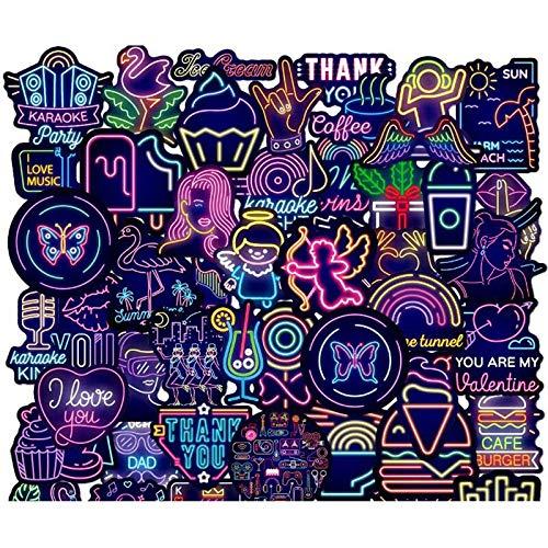 50 Piezas de Pegatinas de luz de neón & Hawaii Beach Summer Cartoon Sticker Laptop Skateboard Equipaje Pegatinas Nuevo