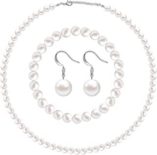 Faux Pearl Jewelry Set Simulated Pearl Necklace Bracelet Earrings for Women Girls
