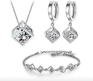 CRYSTALINA Juego de Joyas de Plata 925 para Mujer, Conjunto de Collar Pendientes y Pulsera con Circonitas, Hermosa Caja de...