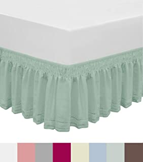 QSY Home Wrap Around Elastic Eyelet Bed Skirts Dust Ruffle Three Fabric Sides Easy On/Easy Off Adjustable Polyester Cotton 14 1/2 Inches Drop(Light Green Twin/Full)