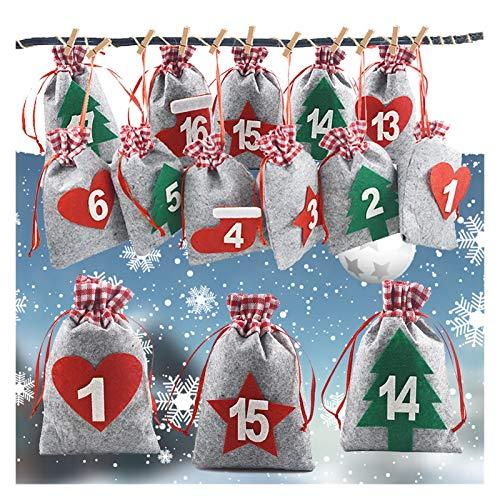 Fgolphd 24PCS advenimiento de Navidad Calendario de Cuenta atrás Bolso Colgante de Regalo del Caramelo Sacks Bolsa con Clips Pegatinas Cuerda DIY Decoración de Navidad (Color : Multi-Colored)