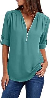 EFOFEI Women Zipper Up Deep V Neck Long Cuffed Sleeve Tops Casual Shirt Chiffon Blouses