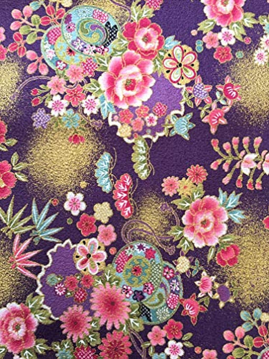 Japanese Kimono Printed Fabric, Japanese Traditional pattarn, for Your Hand Making,Famous for Asian lungi (Purple)