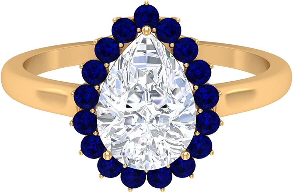7X10 MM Pear Now on sale Max 59% OFF Shaped Moissanite Solitaire 1.8 Ring Lab Create