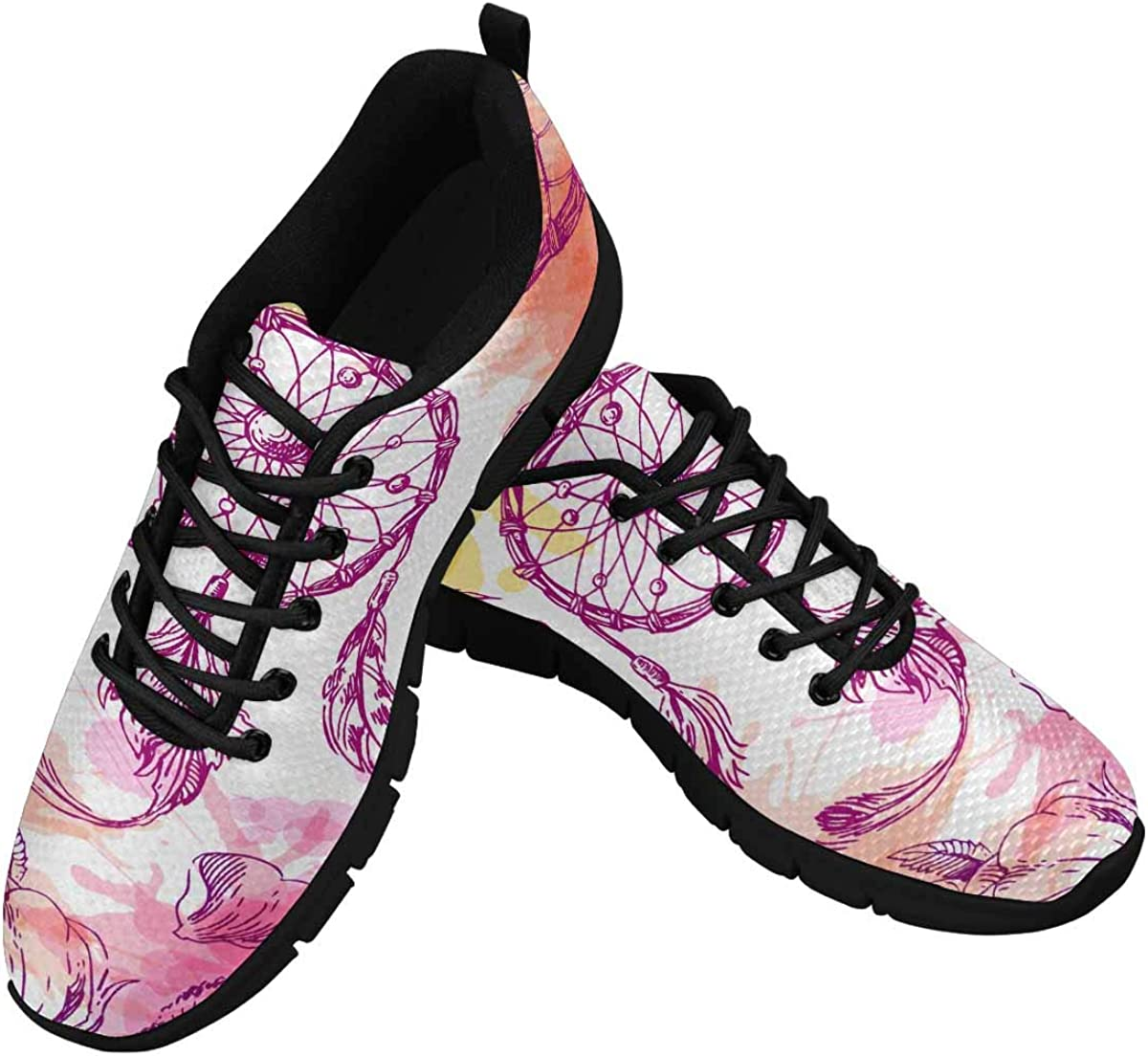 INTERESTPRINT Beautiful Boho Style of Dreamcatcher Women's Lightweight Sneakers Mesh Breathable Yoga Shoes