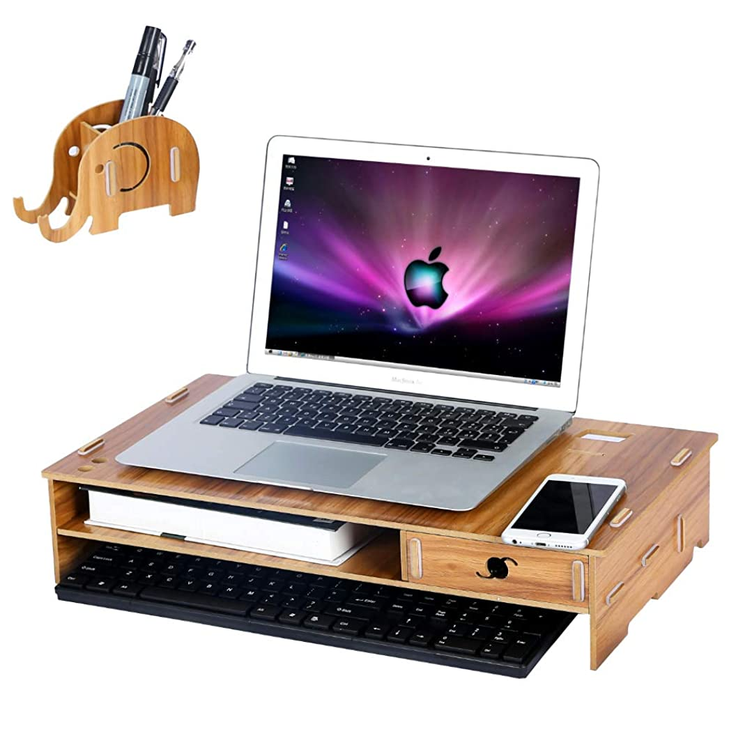 Wood Computer Monitor Stand Riser with Drawer and Mobile Phone Elephant Pen Holder Laptop Desktop Organizer with Keyboard Storage Space TV Printer Stand?for Home Office, Brown acxynyapqcu77