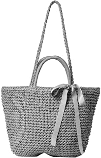Woven Rattan Bag for Women, Hamkaw Handmade Beach Tote Rattan Bag with Sturdy Shoulder Strap for Travel, Natural & Unique