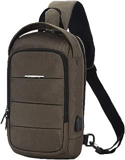 Leorealko Messenger Bag Cross Body Bag Crossbody Men Anti Theft Chest Crossbody Bag Waterproof with USB Charging Port for Travel