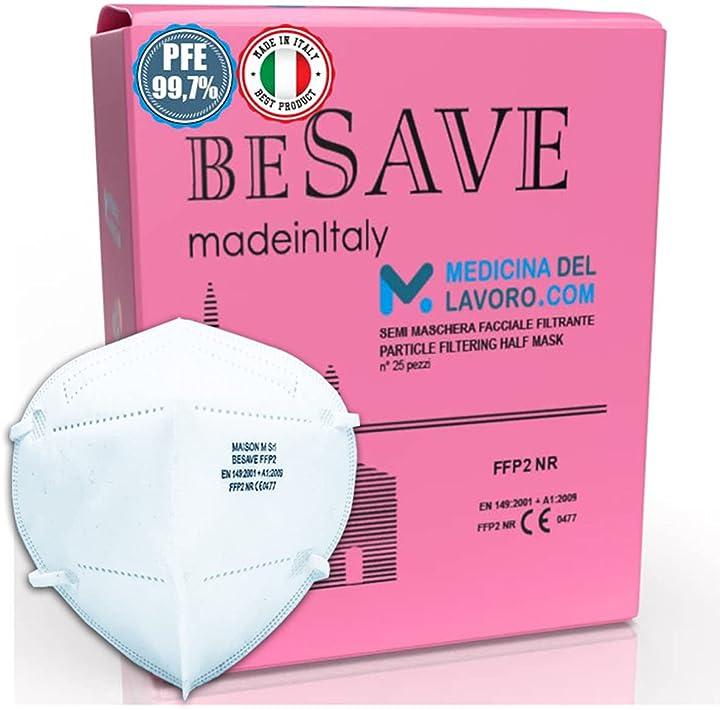 Mascherine ffp2 nr made in italy certificate ce 0477 italia 5 strati - 25 pezzi 789011966580