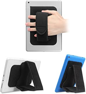 Fintie Universal Tablet Hand Strap Holder - [Dual Stand Supports] Detachable Padded Hook & Loop Fastening Handle Grip with Adhesive Patch for iPad/Galaxy Tab/Fire and All 7-11