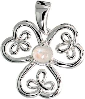 Sterling Silver Genuine Gemstone Celtic Shamrock Pendant Large Flawless Finish, 1 inch Long