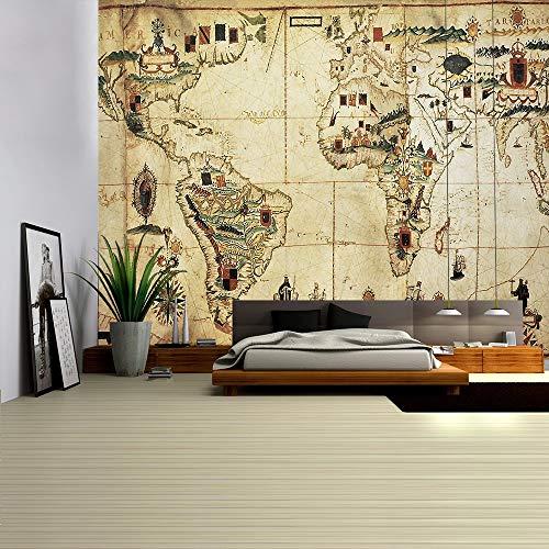 Mapa del mundo tapiz mapa HD tela colgante de pared decoración acuarela mapa alfabeto toalla de playa tela de fondo a6 180x200cm