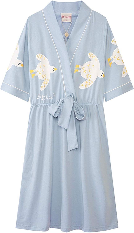 DEI QI Women's Short Sleeve Pajamas Japanese Kimono Cartoon Short Skirt Sweet Cotton Nightdress Female Summer