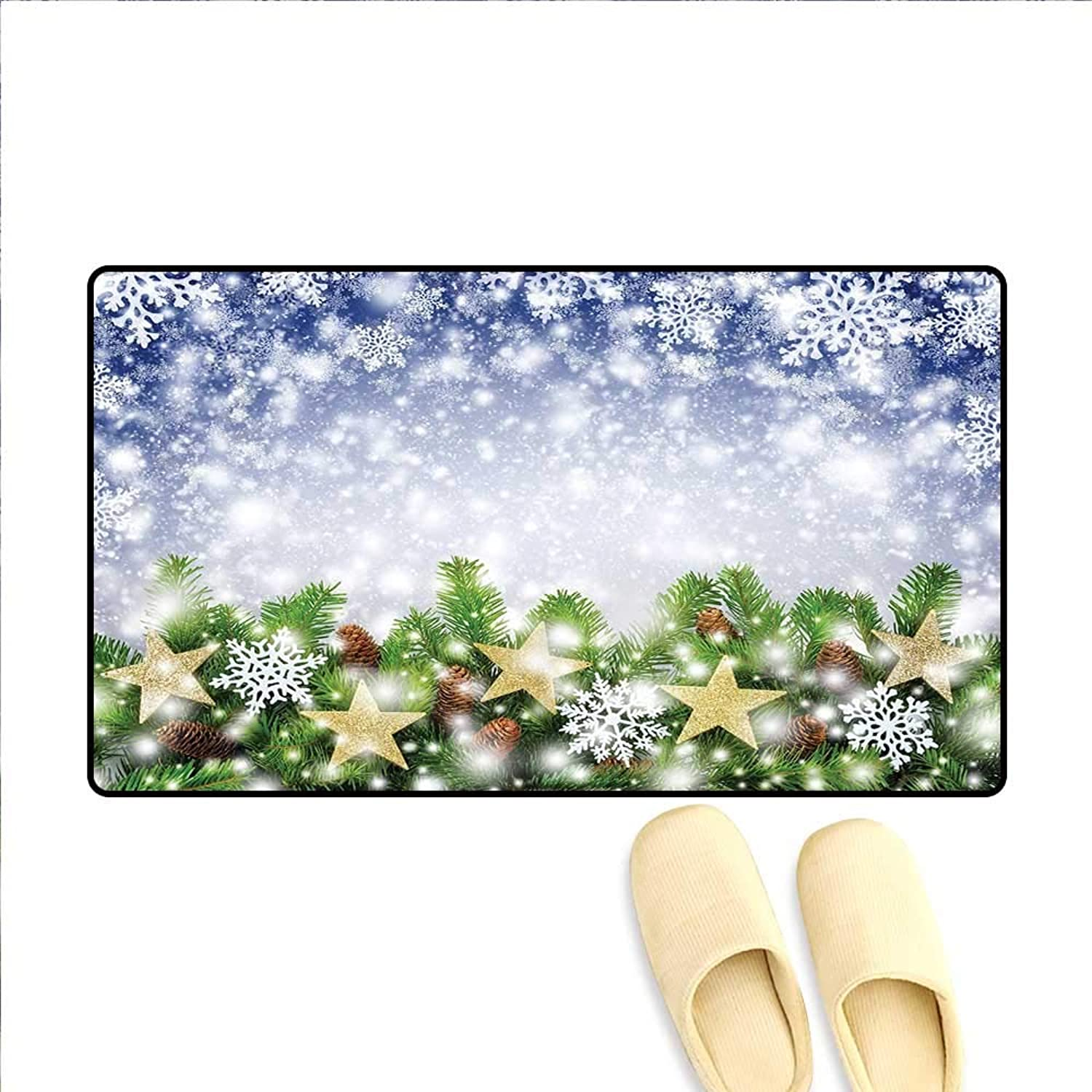 Christmas Door Mat Indoors Snow Time with Falling Flakes and Bokeh Backdrop Fir Twigs with Cones and Stars Door Mats for Inside Non Slip Backing 32 x48  Multicolor