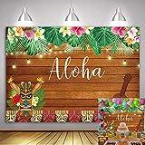 Daniu 210cmx150cm Aloha Party Telón de fondo Tropical Flores hawaianas Escultura de madera Fotografía Fondo Mar Palm Cumpleaños Fiesta musical Banner Decoración Pastel Decoración de mesa Booth Atrezzo