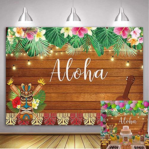 decorazioni natalizie x torte Daniu 7x5FT Aloha Luau Party Contesto Tropical Hawaiian Fiori Scultura in legno Fotografia Sfondo Sea Palm Compleanno Musical Party Banner Decorazione Torta Tavolo Photo