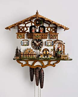 Chalet Cuckoo Clock 1-Day Bavarian With Beer Drinkers And Waitress