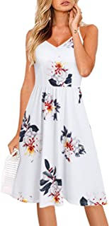 Arach&Cloz Women's V-Neck Spaghetti Strap Sundress Floral Casual Summer Swing Be