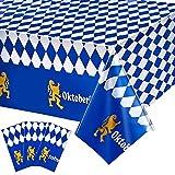 Blulu 3 Pcs 137 x 274 cm Plastic Oktoberfest Bavarian Flag Check Table Cover Tablecloth for Oktoberfest Party Decorations Supplies