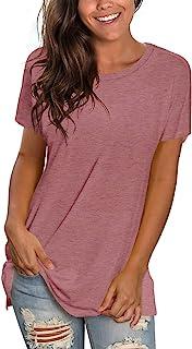Womens T Shirts Short Sleeve Crewneck Tees Plain Workout Tops Loose Fit