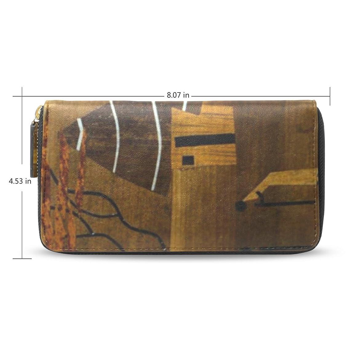 火山の隣接する不幸Womens African Art Pattern Long Wallet &財布ケースカードホルダー