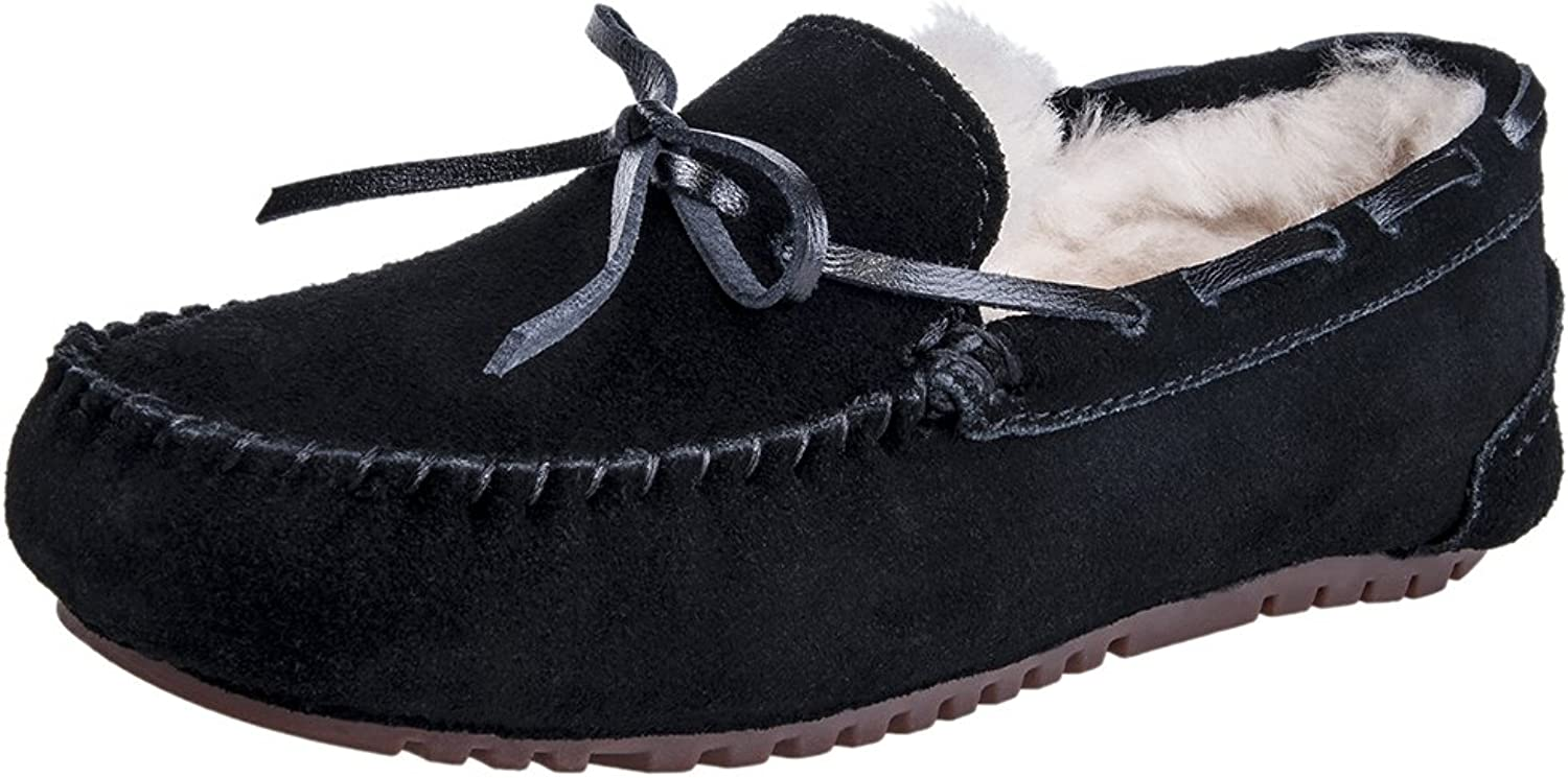 MIXIN Women's Casual Fashion Rubber Sole Indoor Outdoor Slip on Leather Loafers Moccasins Slippers shoes