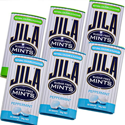 ジラ JILA ミントタブレット スペアミントとペパーミント 各34g 2種類 6缶セット 送料無料 少し大きめ粒 海外