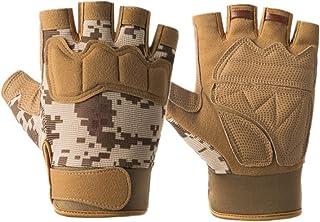 ABOOFAN 1 Pair Nonskid Half Finger Gloves Cycling Gloves Fitness Gym Road Bike Gloves for Men (Paratrooper, Brown Camouflage)