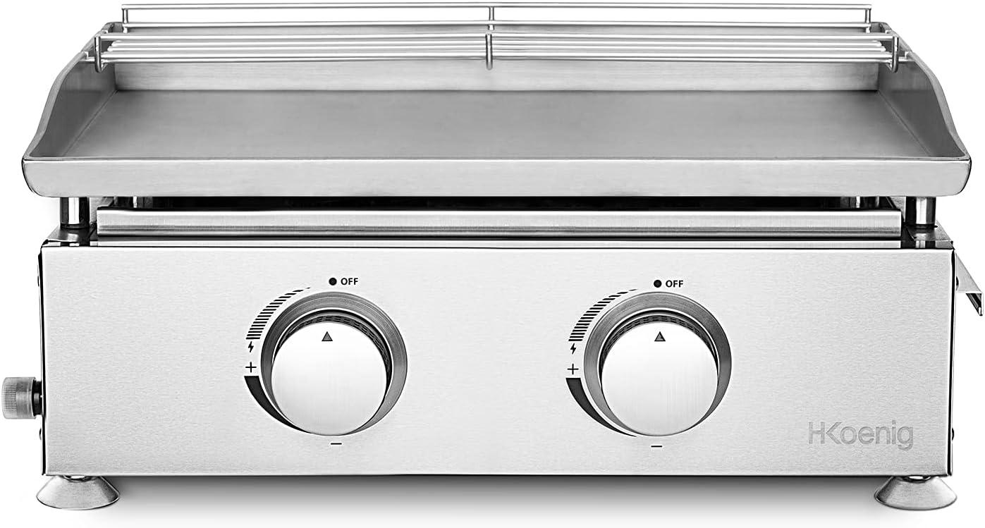 H.Koenig - Plancha de gas PLX820, 2 quemadores, acero inoxidable, placa de 5 mm, distribución igual del calor, temperatura hasta 350 °C, fácil limpieza, apta para lavavajillas, patas antideslizantes