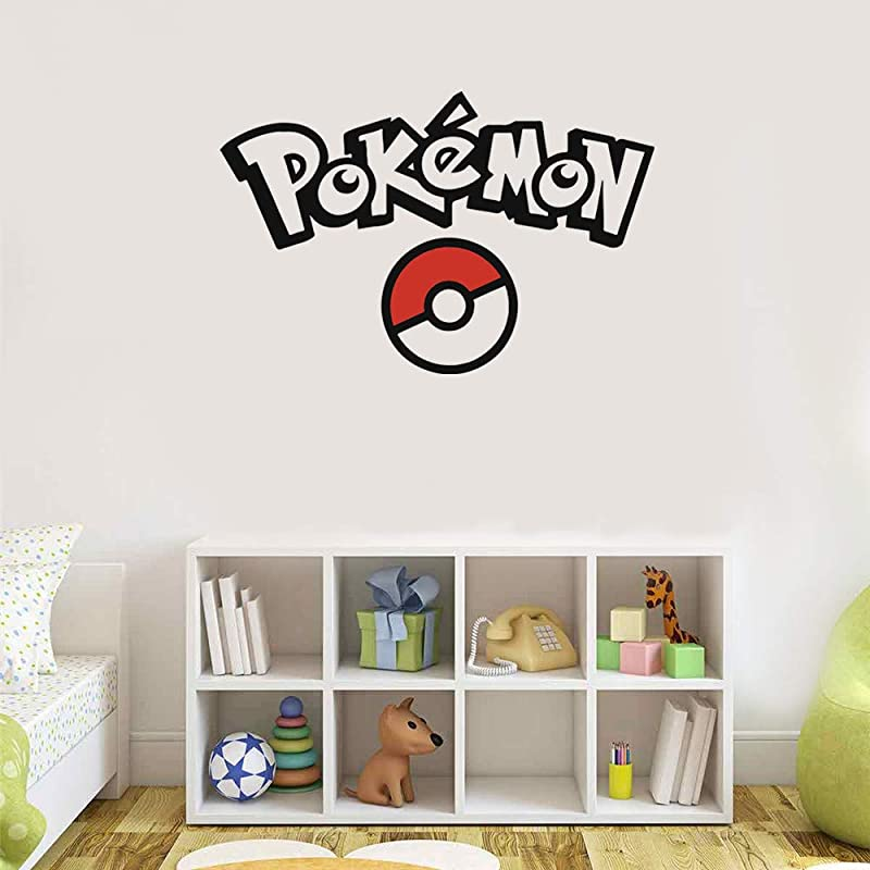 Qwzgfv Vinyl Wall Stickers Pokemon Quotes Cartoon Pokemon GO Ball Wall Decals For Kids Room Decor Mural Decal Art Home Decor For Bedroom Living Room