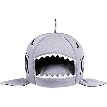 ペットハウス 猫ベッド 犬ハウス 鮫型 ドーム型 室内用 犬猫 ソファ サメ型 猫ソファー マット付き 洗える … (S)