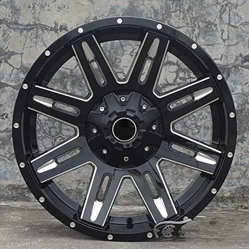CONRAL 20 Inches Borde de Cubo de Rueda de fundición de Aluminio Negro Mate de 8 radios para Ford Raptor, Infiniti QX80, Toyota Land Cruiser Prado, Mitsubishi Pajero, Cadillac Escalade