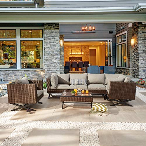 Festival Depot 7pcs Outdoor Furniture Patio Conversation Set Sectional Corner Sofa Chairs with X Shaped Metal Leg All Weather Brown Rattan Wicker Rectangle Coffee Table with Grey Seat Back Cushions