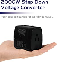 2000W Step Down Voltage Converter 220V to 110V and Universal Travel Plug Adapter Combo for Hair Dryer Steam Iron Cell Phone Laptop MacBook - Plug Adaptor US to Europe, UK, AU, Asia Over 150 Countries
