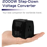 2000W Step Down Voltage Converter 220V to 110V and Universal Travel Plug Adapter Combo for Hair...