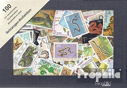Prophila Collection Motivazioni 100 Diversi Serpenti Francobolli (Francobolli per i Collezionisti) Anfibi / rettili / Dinosauro