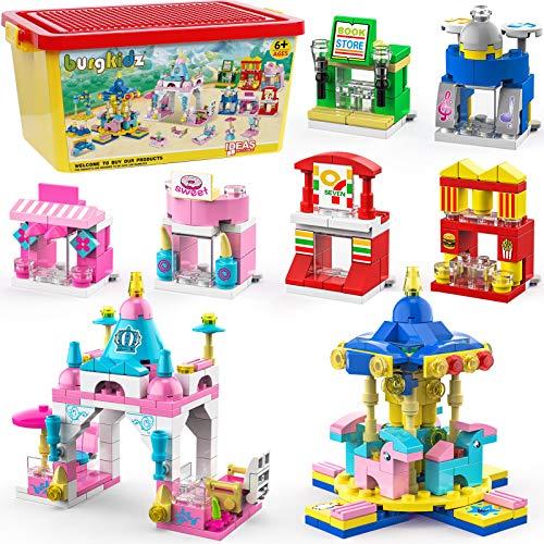 burgkidz Girls Building Blocks Set Toys, 20 Models Building Bricks Toys Amusement Park Princess Castle Shopping Center Play Set, Gifts for Kids Age 6-12 and Up (677 PCS)