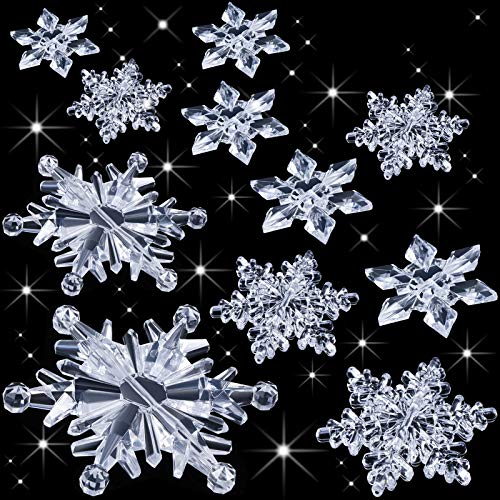 70 Pieces Clear Acrylic Crystal Winter Wonderland Snowflakes Snow Theme Decorations Ornaments Xmas DIY Tree Pendant