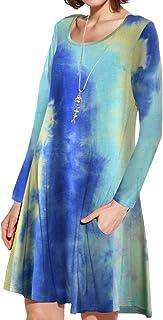 JollieLovin Women Long Sleeve Dress with Pockets Plus Size Swing Casual Loose Tshirt Dresses T04-Blue 2X
