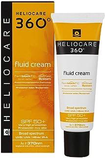 Heliocare 360º Fluid Cream SPF 50+ - Crema Solar Facial Fluida Nutre e Hidrata Aporta Suavidad a la Piel sin Residuo Bl...