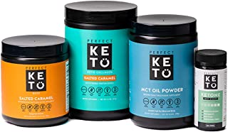 The Perfect Keto Starter Bundle for Ketogenic Diet | Best to Burn Fat and Support Energy | Includes Collagen, MCT Oil, Exogenous Ketone Base & Testing Strips (Salted Caramel)