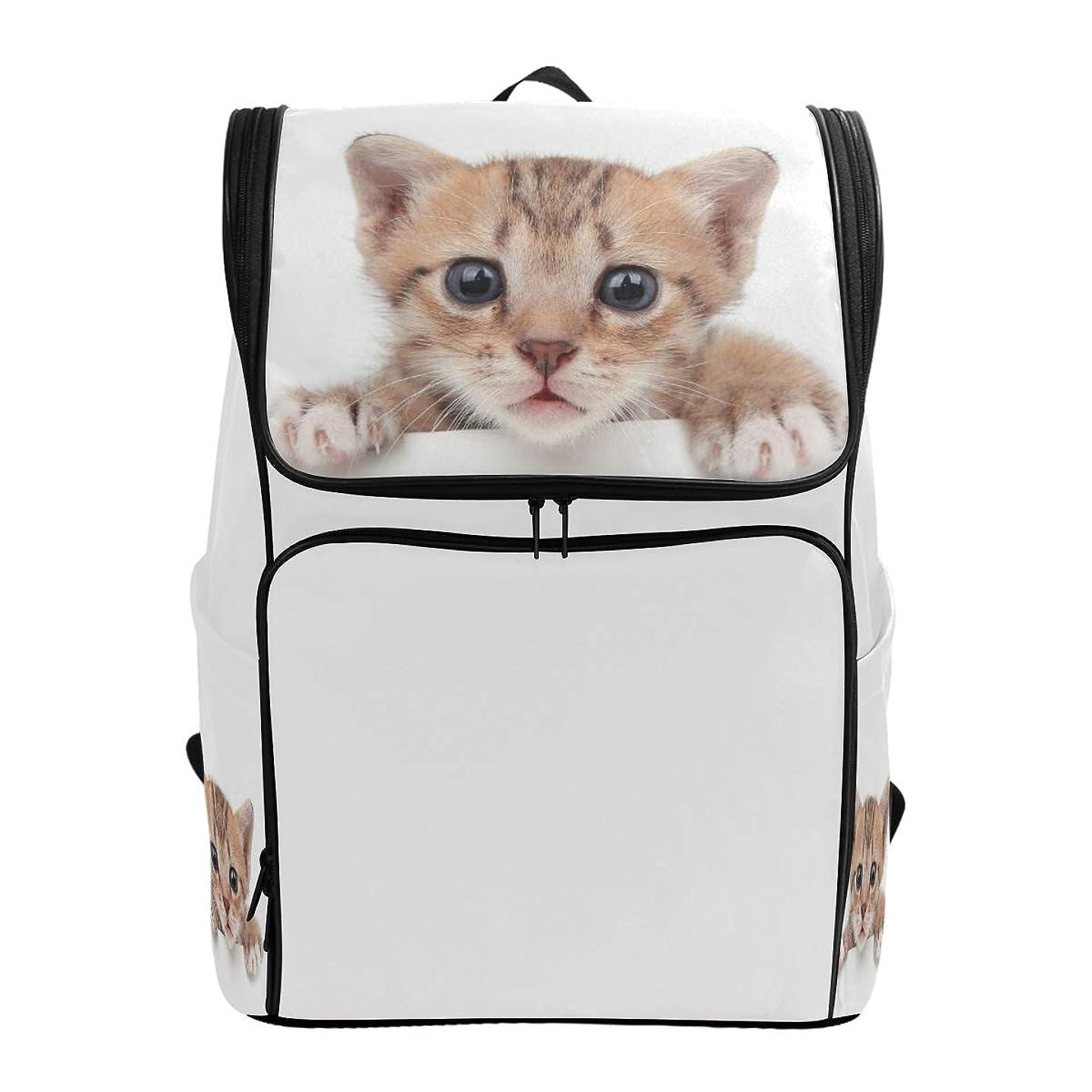 セクションつぼみ視線マキク(MAKIKU) リュックサック 大容量 軽量 猫柄 猫ちゃん リュック メンズ 登山 通学 通勤 旅行 プレゼント対応