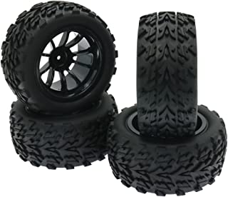 Arrow Front/Rear Rubber Tires Wheels Rim Tyre Set 12MM Hex for 1/10 Scale Largefoot Monster Truck Off-Road RC Hobby Model Car (10 Spoke Wheels)